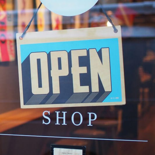 commercial glass open sign